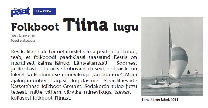 Folkboot Tiina lugu ajakirjast Paat